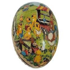 Vintage East German Papier Mache Easter Egg w/Singing Chicks
