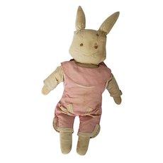 Well Loved Vintage Depression Era Primitive Folk Art Rabbit Stuffed Toy