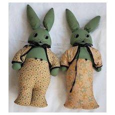 Pair Vintage Depression Era Naive Folk Art Mr. & Mrs. Bunny Rabbit Stuffed Toys.