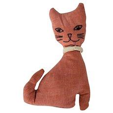 Vintage Mid 20th C. Folk Art Cat Stuffed Toy