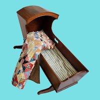 19th C. Virginia Folk Art Walnut Hooded Cradle w/Ticking & Patchwork Doll Quilt