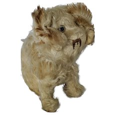 Vintage White Mohair Articulated Musical Stuffed Dog Toy From My Collection