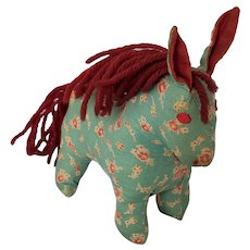 Vintage 1940's Folk Art Floral Print Horse Stuffed Toy from my Collection