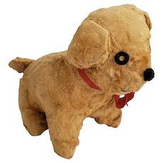 Vintage Tan Mohair Working Wind-Up Musical Puppy Dog Stuffed Toy
