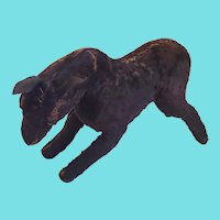 Large Well Loved Antique Primitive Folk Art Black Mohair Horse Stuffed Toy