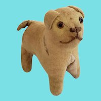 Darling Tiny Late 19th Early 20th C. Flannel Stuffed Dog Whimsy