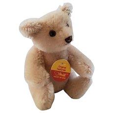 "Tiny 4"" Pink Mohair Steiff Articulated Teddy Bear w/Original Button & Tag"
