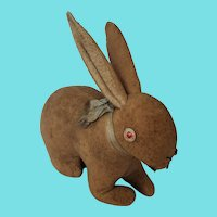 Antique Wool Flannel Cottontail Bunny Rabbit Stuffed Toy