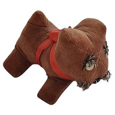 Vintage Naive Folk Art Brown Corduroy Scottie Dog Stuffed Toy from my Collection