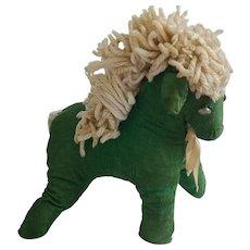 Vintage PA. Folk Art Green Corduroy Rag Stuffed Horse Toy