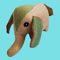 Vintage Folk Art Beige & Green Wool Elephant Stuffed Toy from my Collection