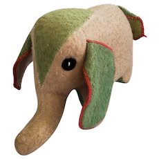 Vintage Folk Art Beige & Green Wool Elephant Stuffed Toy from my Collection