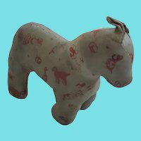 Vintage 1930's Folk Art Oil Cloth Horse Stuffed Toy