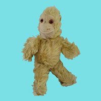 Vintage Mid 20th C. Pale Yellow Mohair Articulated Monkey Stuffed Toy