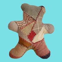 Vintage Naive Folk Art Crazy Quilt Teddy Bear Pillow