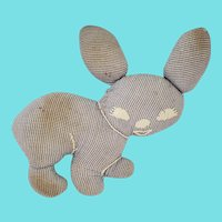 Tiny Vintage Naive Folk Art Blue & White Check Bunny Rabbit Stuffed Toy