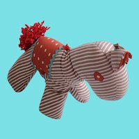 Vintage Naive Folk Art Striped Horse Stuffed Toy