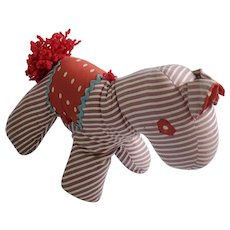 Vintage Naive Folk Art Striped Horse Stuffed Toy