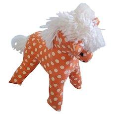 Funky Vintage Folk Art Orange & White Polka Dot Horse Stuffed Toy