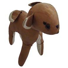 Vintage Naive Folk Art Deer Stuffed Toy