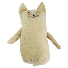 Vintage Naive Folk Art White Wool Kitty Cat Stump Rag Doll Toy