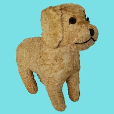 Adorable Vintage Folk Art White Curly Mohair Dog Stuffed Toy