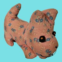 Super Cute Vintage 1930's Floral Print Scottie Dog Stuffed Toy