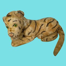 Vintage Mohair White Tiger Stuffed Toy