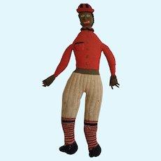 Vintage 1920's Black Americana Folk Art Knitted Male Rag Doll