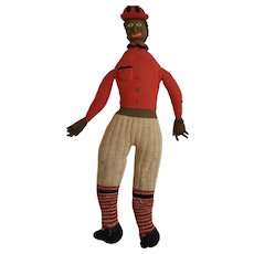 Vintage 1920's-30's Black Americana Folk Art Knitted Male Rag Doll