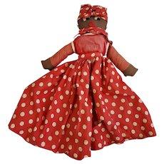 Vintage 1930's-40's Black Americana Folk Art Mammy Style Rag 1/2 Doll #1