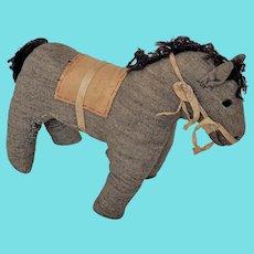 Late 19th C. Amish Folk Art Gray Flannel Horse Stuffed Toy