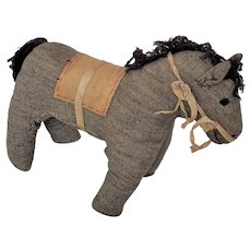 Late 19th C. Amish Folk Art Gray Flannel Horse Stuffed Toy