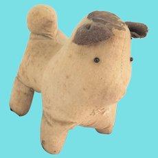 Antique  Lancaster Co., PA. Primitive Flannel & Homespun Folk Art Dog Stuffed Toy