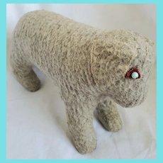 Vintage Naive Folk Art Gray Nubby Felt Dog Stuffed Toy