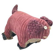 Vintage Naive Amish Folk Art Make-Do Dog Stuffed Toy