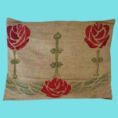 Antique Arts & Crafts Homespun Pillow w/ Embroidered Rose Design