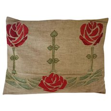 Antique Arts & Crafts Homespun Pillow w/ Embroidered Rose Design