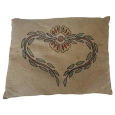 Antique Arts & Crafts Homespun Pillow w/ Embroidered Heart & Flower Design