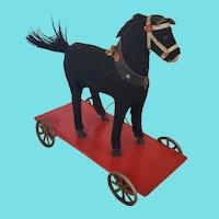 Vintage German Platform Black Horse Pull-Toy
