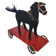 Vintage German Platform Black Horse Pull-Toy