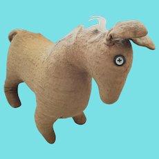 Early 1900's PA. Handmade Folk Art Brown Fabric Horse Toy