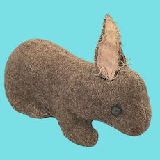 Antique Early 1900's PA Folk Art Mohair Rabbit Stuffed Toy