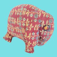 Vintage 1940's Folk Art Elephant Stuffed Toy