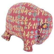 Vintage 1940's Folk Art Elephant Stuffed Toy