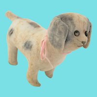 Antique Early 1900's Folk Art Painted Linen Dog Stuffed Toy