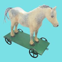 Vintage Folk Art Dapple Gray Horse Pull Toy