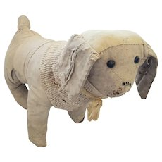 Antique Turn of 20th C. Super Primitive Folk Art Poodle Dog Stuffed Toy