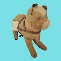 Antique Super Primitive Folk Art Bull Dog Stuffed Toy w/Harness & Make-Do Repair