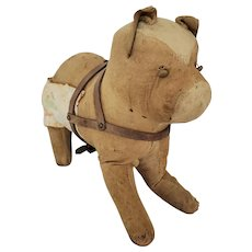 Antique Super Primitive Folk Art Bull Dog Stuffed Toy w/Harness & Make-Do Repair